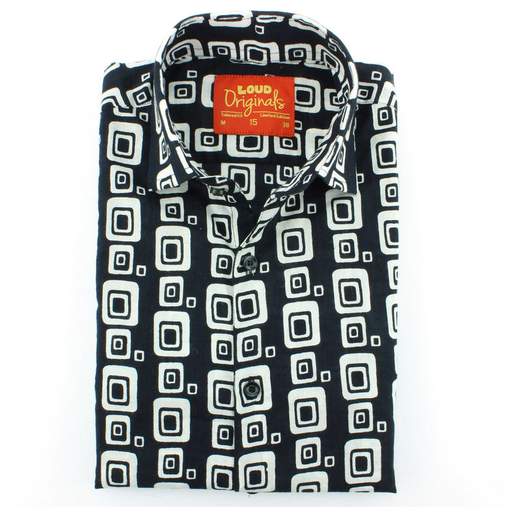 Tailored Fit Short Sleeve Shirt - Block Print - Squircles