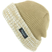 Fine Knit Beanie Hat with Thermal Lining and Marl Turn-up - Light Brown