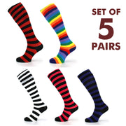 Long Knee High Striped Socks - Set 5
