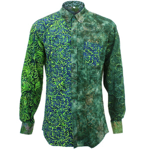 Regular Fit Long Sleeve Shirt - Random Mixed Batik - Dark Green
