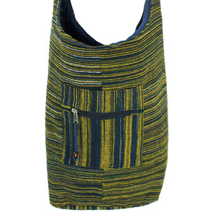 Striped Chenille Sling Shoulder Bag - Navy Yellow
