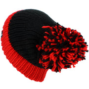 Chunky Acrylic Knit Beanie Hat with a MASSIVE Bobble - Red & Black