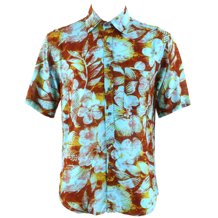 Regular Fit Short Sleeve Shirt - Turquoise & Brown Floral
