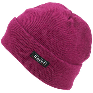 Fine Knit Beanie Hat - Dark Pink