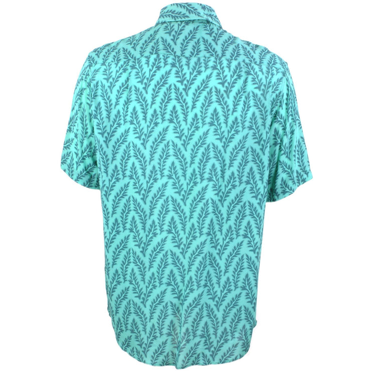 Regular Fit Short Sleeve Shirt - Turquoise Leaves