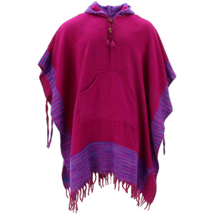 Soft Vegan Wool Hooded Tibet Poncho - Plum Purple