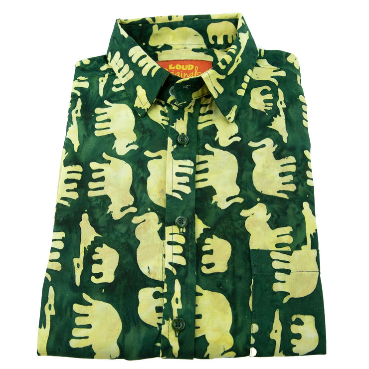 Regular Fit Long Sleeve Shirt - Herd of Elephants - Green