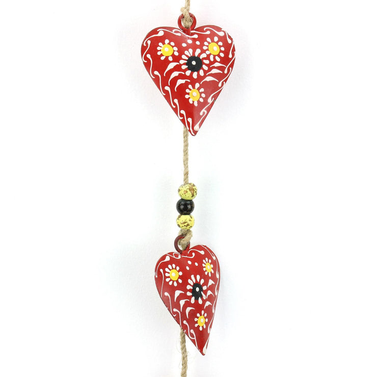 Hanging Mobile Decoration String of Hearts - Red - Sand String