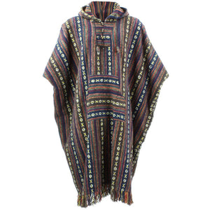Brushed Cotton Long Hooded Poncho - Brown