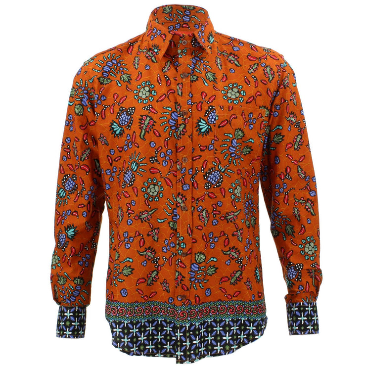 Tailored Fit Long Sleeve Shirt - Orange Abstract