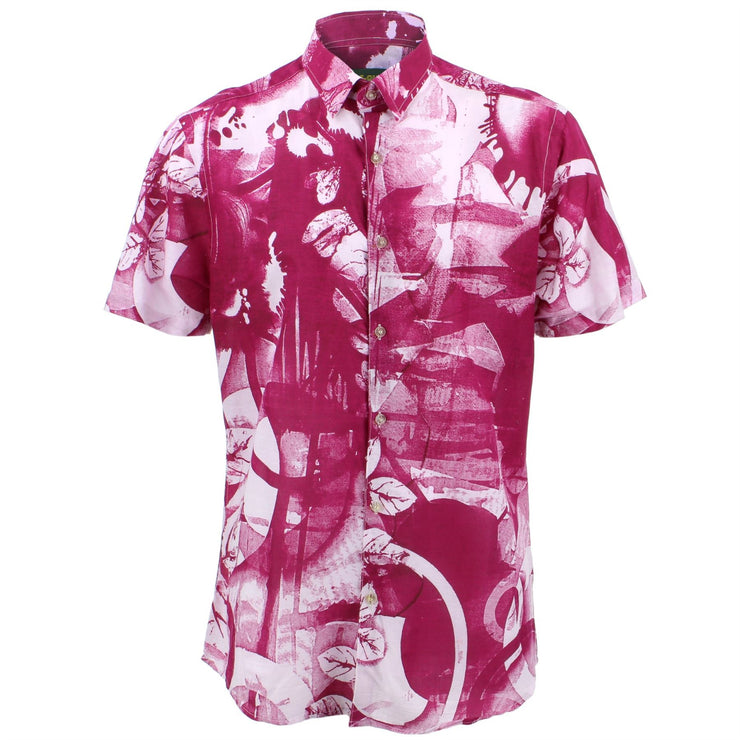 Tailored Fit Short Sleeve Shirt - Pink Moon Leaves