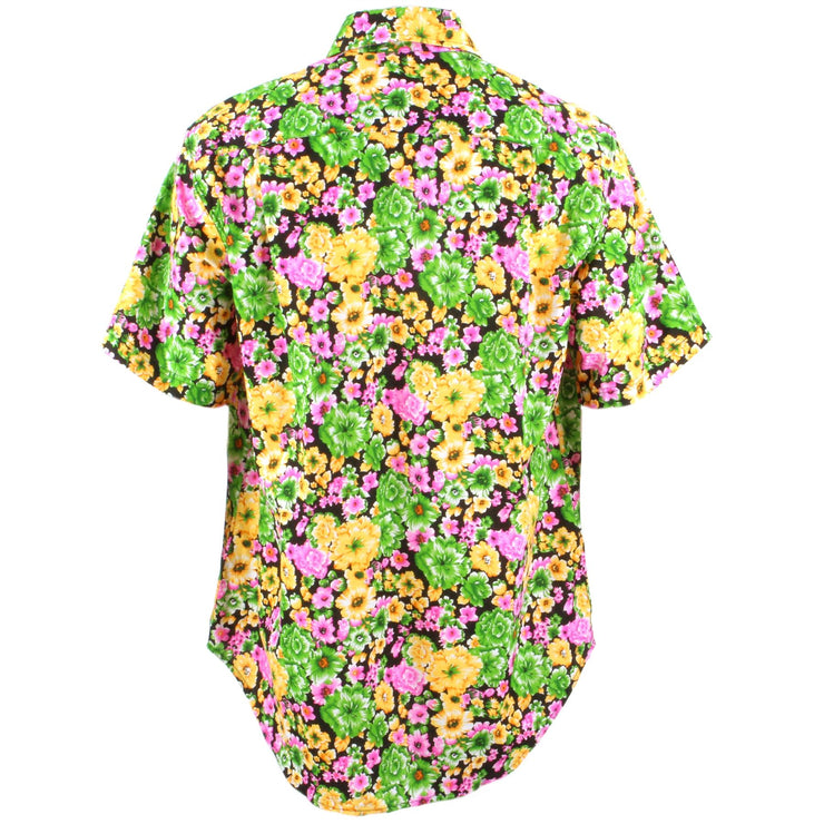 Regular Fit Short Sleeve Shirt - Green Pink & Yellow Floral on Black