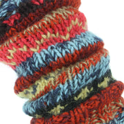 Chunky Wool Knit Abstract Pattern Leg Warmers - Red