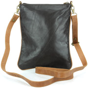 Real Leather Cross Body Messenger Shoulder Bag - Black