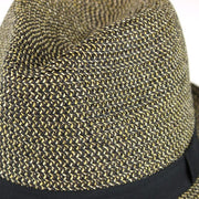Woven Straw Trilby Hat - Brown