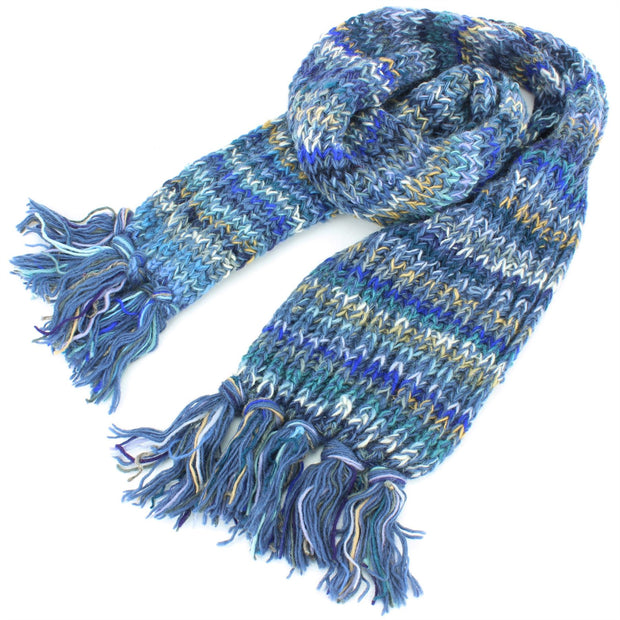 Chunky Wool Knit Scarf - Space Dye - Dark Blue