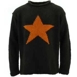 Chunky Wool Knit Star Jumper - Brown & Mustard