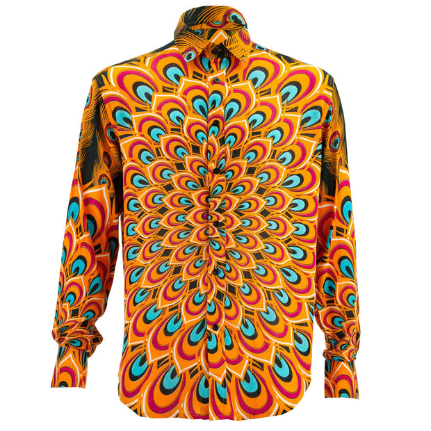 Regular Fit Long Sleeve Shirt - Peacock Mandala - Orange Blue