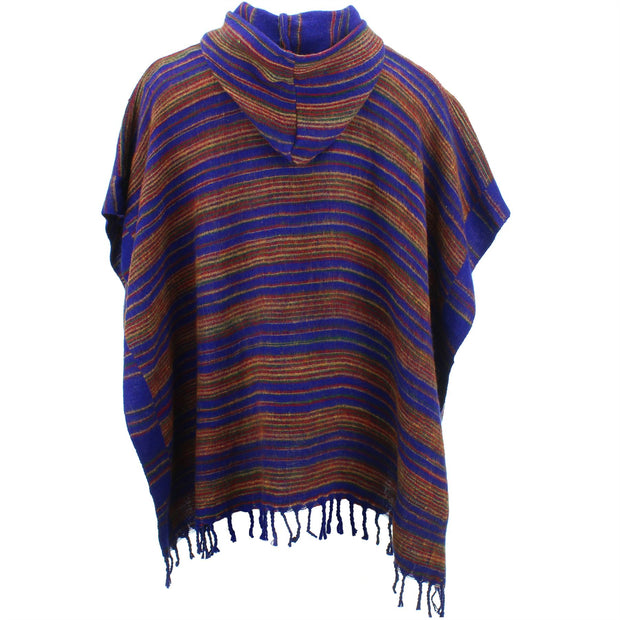 Hooded Square Poncho - Blue & Brown