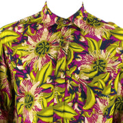 Regular Fit Long Sleeve Shirt - Green & Purple Psychedelic Floral