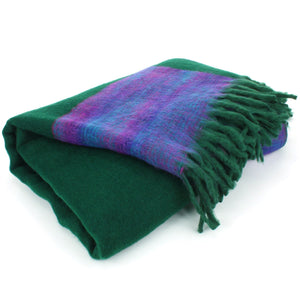 Tibetan Wool Blend Shawl Blanket - Green with Purple Reverse