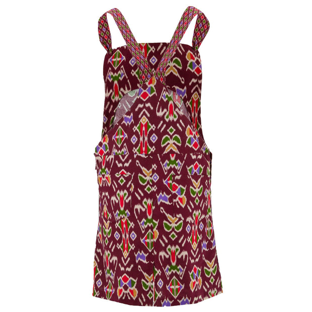 Chic Tea Shift Dungaree Dress - Maroon Tribal