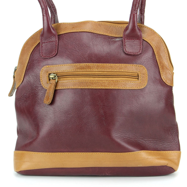 Real Leather Shopper Tote Bag Handbag - Red & Brown