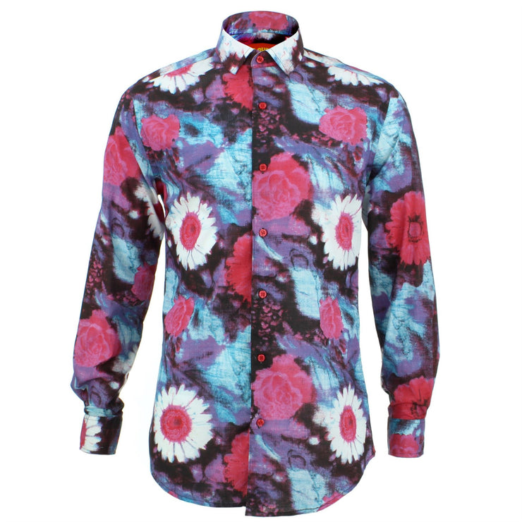 Tailored Fit Long Sleeve Shirt - Floral Wash