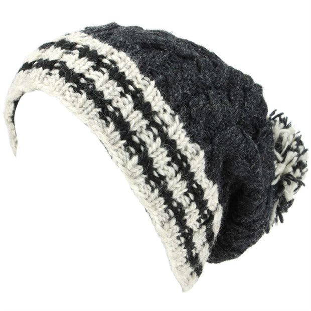 Chunky Wool Cable Knit Big Baggy Slouch Beanie Bobble Hat with Striped Brim - Charcoal