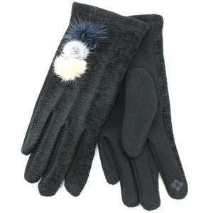 Ladies Velvet Gloves - Black