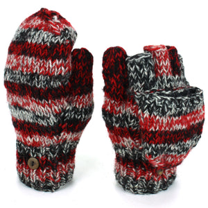 Wool Knit Shooter Gloves - Black Red SD