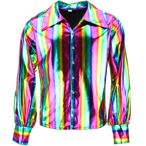 Shiny Metallic 70's Shirt - Rainbow