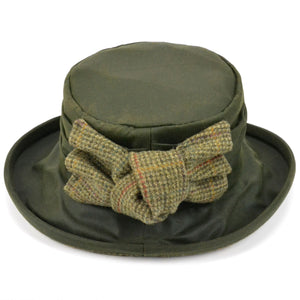 Ladies Wax Hat with Tweed Bow - Olive