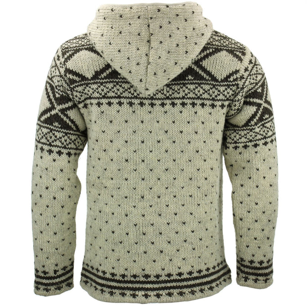 Wool Knit Fairisle Hooded Jacket - Cream