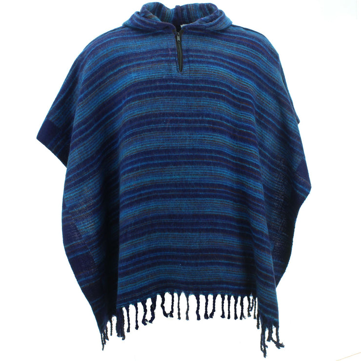 Hooded Square Poncho - Blues