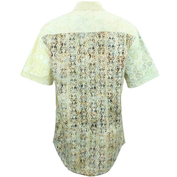 Regular Fit Short Sleeve Shirt - Random Mixed Batik - Beige