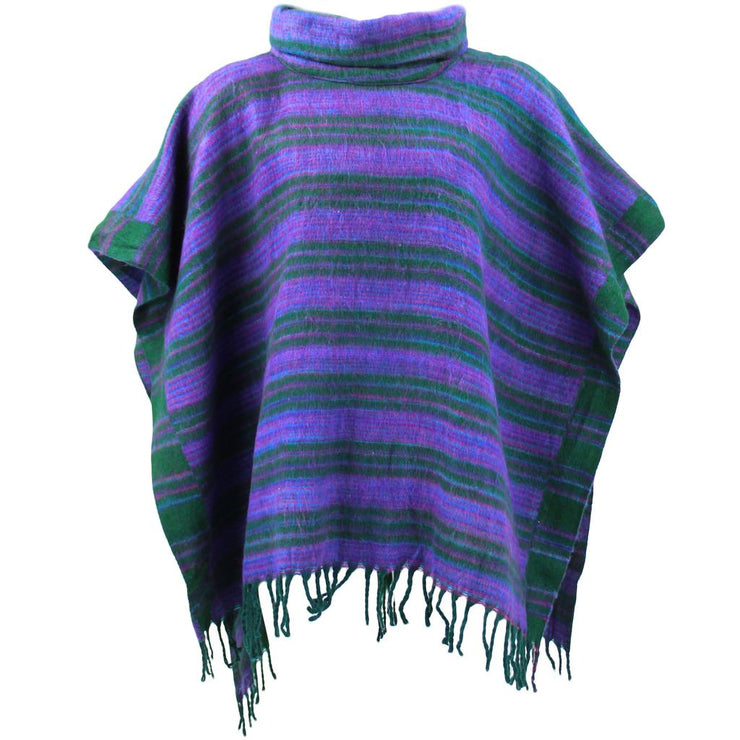 Hooded Square Poncho - Green & Purple
