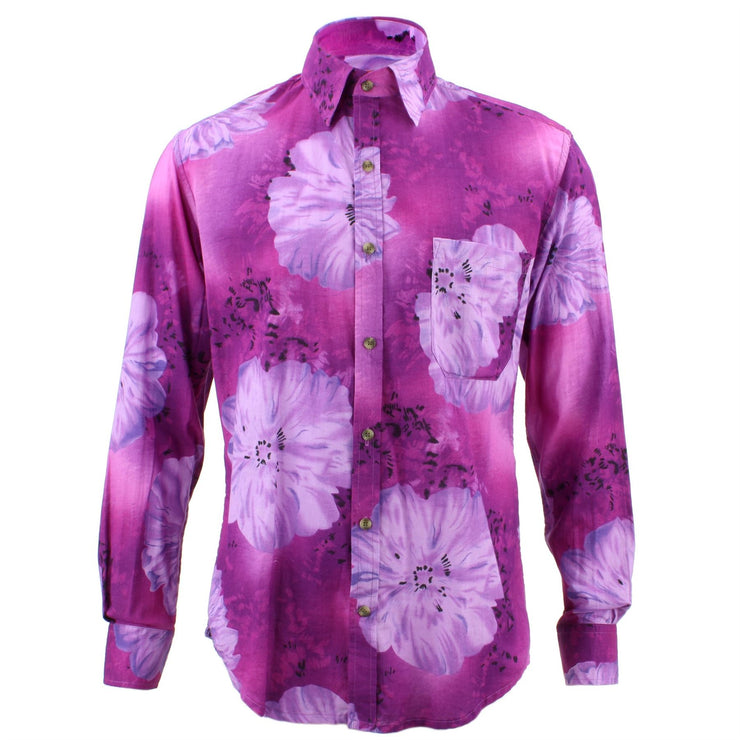 Tailored Fit Long Sleeve Shirt - Bright Purple Floral Print