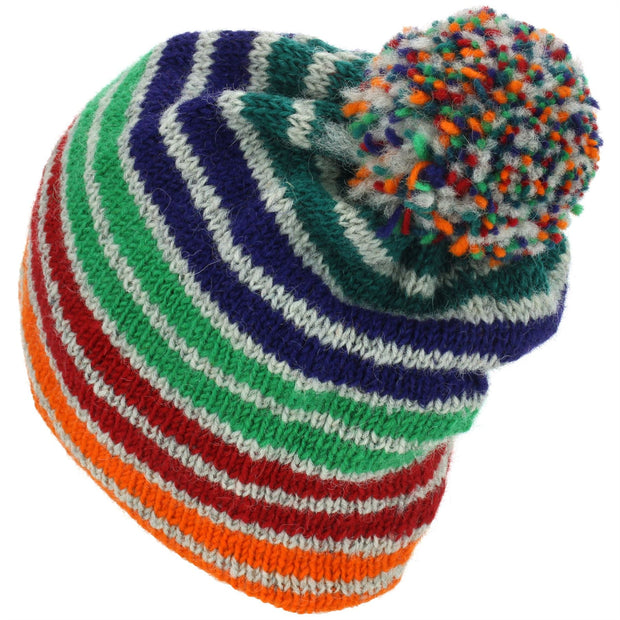 Wool Knit Bobble Beanie Hat - Stripe Green