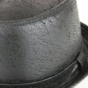 Distressed Leather Effect Pork Pie Hat - Black