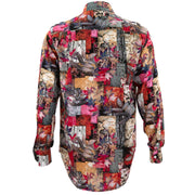 Regular Fit Long Sleeve Shirt - Autumn Patchwork - Red