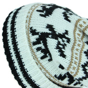 Chunky Slouch Bobble Beanie Hat with Reindeer Pattern - White & Black