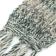Chunky Wool Knit Abstract Pattern Scarf - Grey