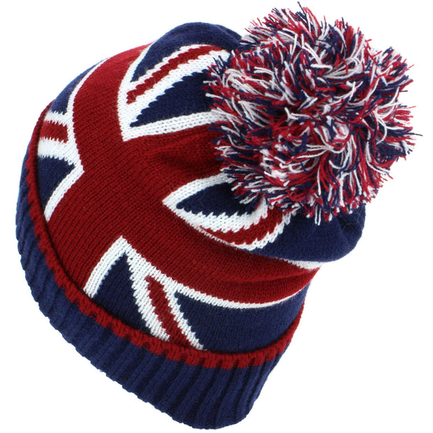 Union Jack Bobble Beanie Hat with Super Soft Fleece Lining