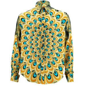 Regular Fit Long Sleeve Shirt - Peacock Mandala - Yellow