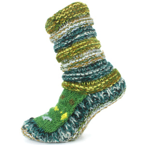 Chunky Wool Knit Abstract Pattern Slipper Socks - Green