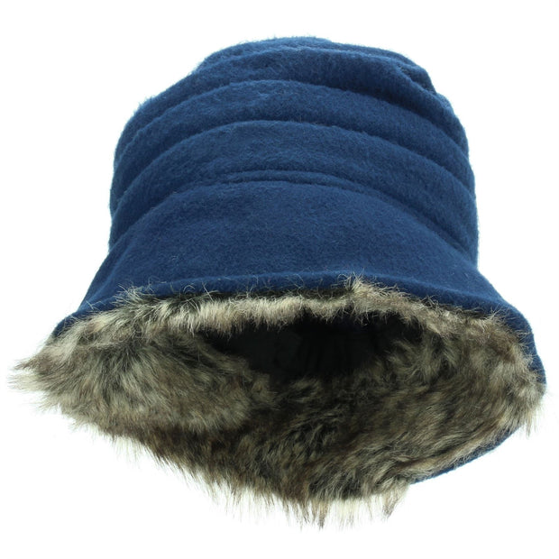 Hawkins Ladies Layered Fur Hat - Blue