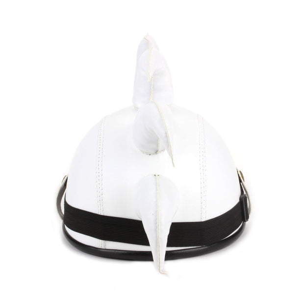 Saw Blade Mohawk Horned Novelty Festival Helmet with Goggles - White