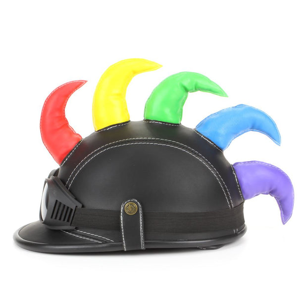 Saw Blade Mohawk Horned Novelty Festival Helmet with Goggles - Black & Rainbow