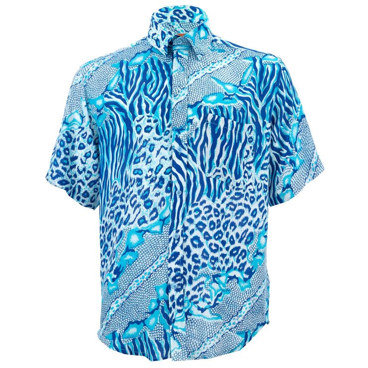 Regular Fit Short Sleeve Shirt - Jungle Menagerie - Blue